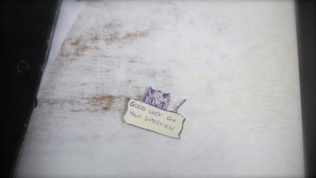 面接の日に、とーちゃんがくれたメッセージカード。猫の絵、かわいー!